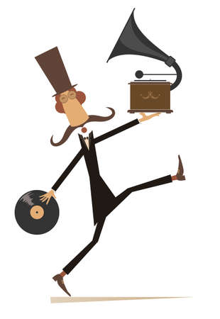 Funny man with vintage record player and record illustration.  Walking long mustache man in the top hat holds a long playing record and gramophone isolated on white