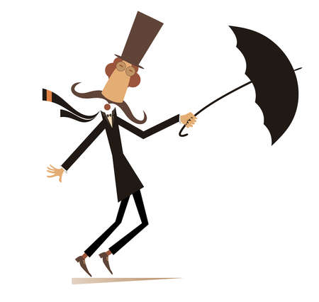 Long mustache man stays on the strong wind illustration. Strong wind and a long mustache man in the top hat with umbrella isolated on white Ilustração