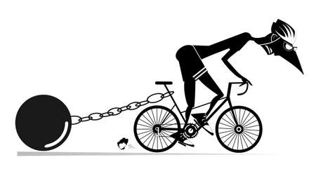 Hard training cyclist man illustration.  Cyclist man drags a heavy weight to be connected by the chain to his bike black on white