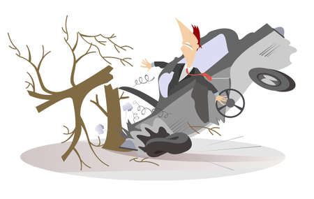 Car smashed into a tree isolated illustration.  Man in the crashed car with a steering wheel smashed into a tree isolated on white Ilustração