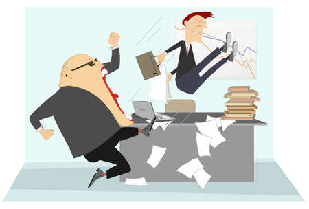 Angry boss and employee illustration.  Angry chief scolds his frightened employee and kicks him to the ass Ilustração