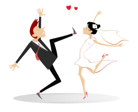 Dancing married wedding couple illustration.  Heart symbol and dancing happy man and woman in the white dress and wedding veil isolated on white