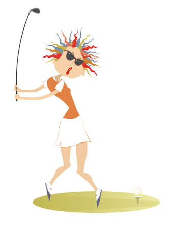 Young golfer woman on the golf course illustration. Cartoon golfer woman aiming to do a good kick isolated on white