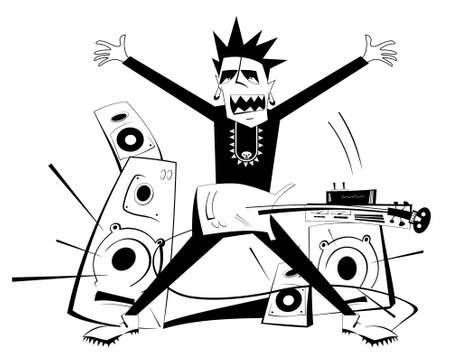 Cartoon guitar player black on white isolated illustration. Expressive guitarist plays loud music using amplifier and several speakers Ilustração