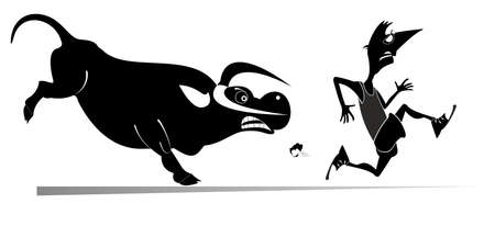 Cartoon running man and angry bull isolated illustration. Frightened sport man runs away from the angry bull black on white