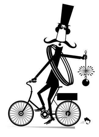 Funny long mustache chimney sweeper illustration. Mustache chimney sweeper in the top hat with the rope and chimney brush rides on the bike black on white