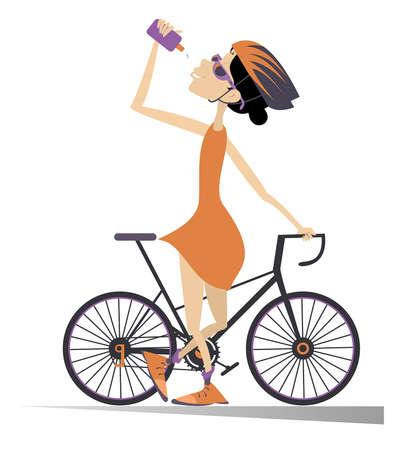 Cyclist rides a bike and drinks water isolated illustration. Cartoon cyclist woman in helmet stands with a bike and drinks beverage isolated on white illustration Ilustração
