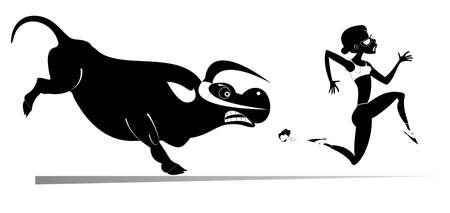 Cartoon running woman and angry bull isolated illustration.  Frightened sport woman runs away from the angry bull black on white Ilustração