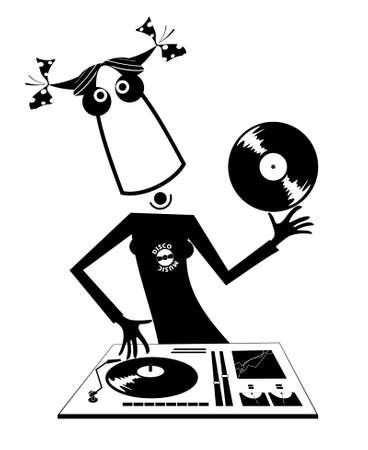 Cartoon funny DJ girl illustration.  Bizarre DJ girl performing music on the control panel black on white illustration Ilustração