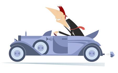 Smiling young man drives a car illustration.  Elegant man drives a cabriolet isolated on white Ilustração