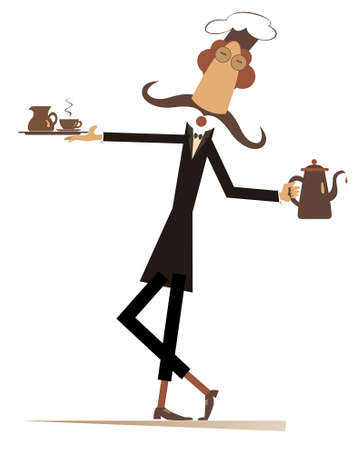 Long mustache comic cook flat illustration.  Mustache cook carries a tray with coffee or tea cup and cream in one hand and a tea or coffee pot in another isolated on white illustration Ilustração