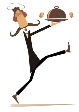 Comic cook carries a tray with a tasty dish illustration.  Long mustache comic cook carries a tray with a tasty smelling food isolated on white