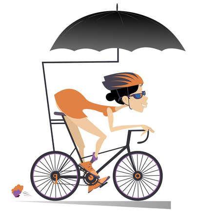 Cartoon woman rides a bike under an umbrella isolated. Smiling woman in helmet and sunglasses rides a the bike and protects herself from the rain with umbrella isolated on white