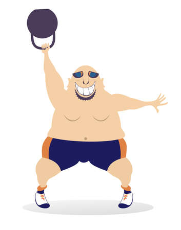Cartoon strong man does exercises with weight illustration.  Smiling bald-headed man in sunglasses does exercises with weight isolated on white