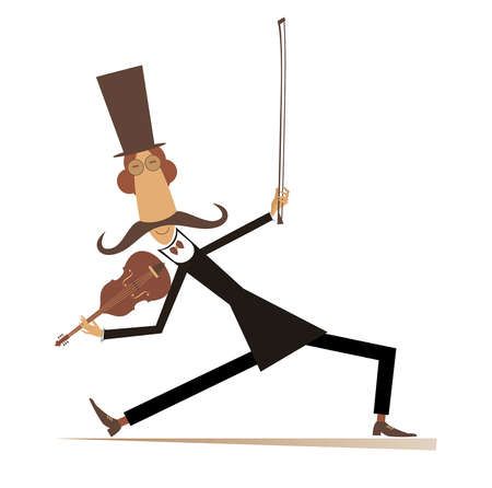Cartoon long mustache violinist illustration.  Smiling mustache man in the top hat with violin and fiddlestick isolated on white illustration