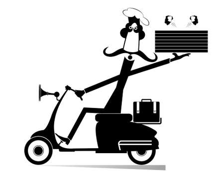 Delivery man with boxes of food drives a scooter illustration. Long mustache comic cook holds boxes with a tasty smelling food and drives a scooter black on white