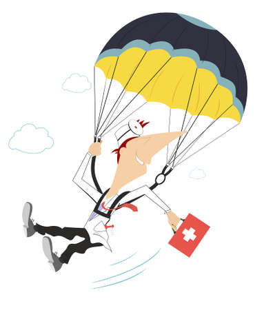 Smiling doctor a skydiver illustration. Cheerfulness doctor with a bag drops by parachute isolated on white