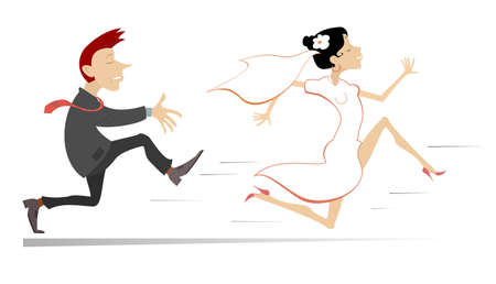 Married wedding couple. Bride runs away from the bridegroom illustration. Upset bridegroom trying to catch up a runaway bride isolated on white