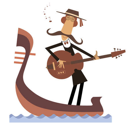 Man with guitar and gondola illustration.  Funny gondolier with long mustaches rides on gondola plays guitar and singing isolated on white