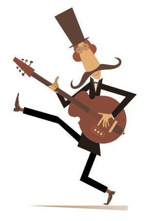 Cartoon long mustache guitarist is playing music illustration. Mustache man in the top hat playing guitar silhouette isolated on white