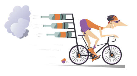 Cartoon man rides a bike illustration.  Smiling man in helmet and sunglasses on the bike tries to ride faster using bottles with carbonated beverage, champagne or beer isolated on white 向量圖像