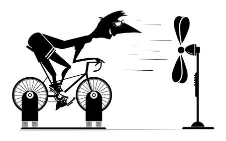 Cyclist trains at home on the exercise bike illustration. Cyclist man rides on exercise bike in front of the ventilator black on white 向量圖像