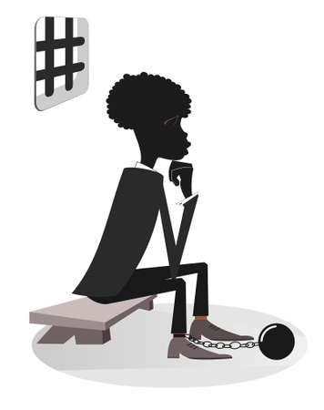 African man in the prison illustration. Sad prisoner African man in shackles is sitting on the bench under the grating window isolated on white 向量圖像