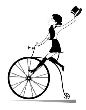 Young woman with a top hat rides retro bike illustration. Attractive young woman holds a top hat in the hand rides a vintage bike black on white