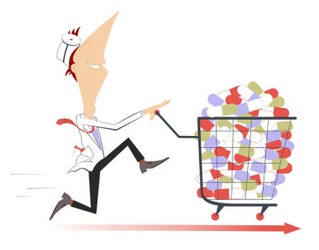 Hurry doctor with a trolley full of pills illustration. Cheerfulness doctor with a trolley full of pills isolated on white