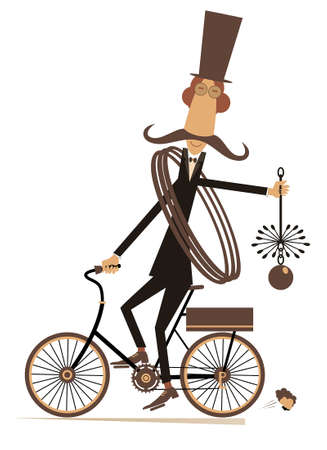Funny long mustache chimney sweeper illustration. Mustache chimney sweeper in the top hat with the rope and chimney brush rides on the bike isolated on white