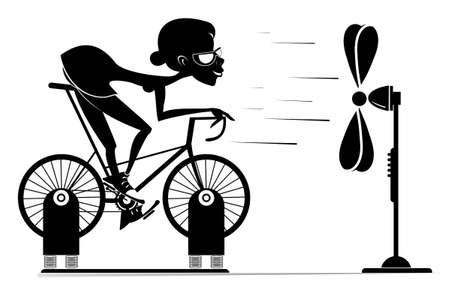 Cyclist trains at home on the exercise bike illustration. Cyclist woman rides on exercise bike in front of the ventilator black on white