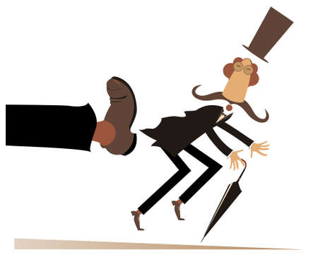 Leg in boot kicks a man to the ass illustration. Long mustache man in the top hat with umbrella has been given a kick to the ass isolated on white 向量圖像