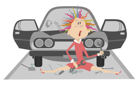 Sad young woman and broken car illustration.  Upset woman with wrenches in the hands sits near a broken the car isolated on white