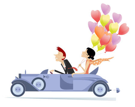 Smiling young man and woman ride a car illustration.  Young man and woman with many balloons ride a cabriolet isolated on white 向量圖像