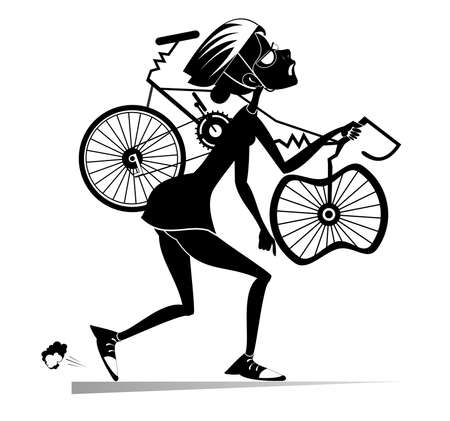 Tired cyclist with a broken bike isolated illustration.  Tired cartoon cyclist woman in helmet carries a broken bike on the shoulder black on white illustration