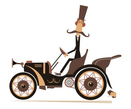 Comic man in the top hat drives a retro car illustration.  Long mustache gentleman in the top hat drives a retro car isolated on white