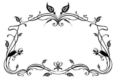 Original birds and plant frame for design. Calligraphy original birds and floral frame black on white illustration