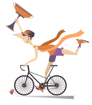 Cartoon woman rides a bike and wins the race illustration. Smiling young woman in helmet with bunch of flowers rides a bike and finishes with a winner ribbon isolated on white