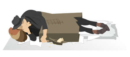 Sleeping homeless and poor man illustration. Hungry and chilled beggar sleeps in the cardboard box isolated on white