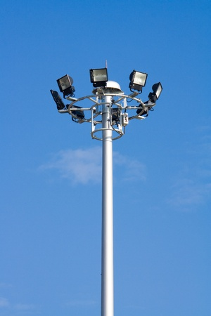 Tall electricity post or lamp with eight lights Stock Photo - 8262463