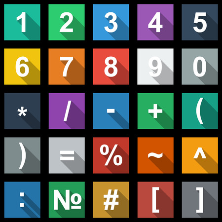 Numbers and Math Symbols Flat Icons Set with long shadow