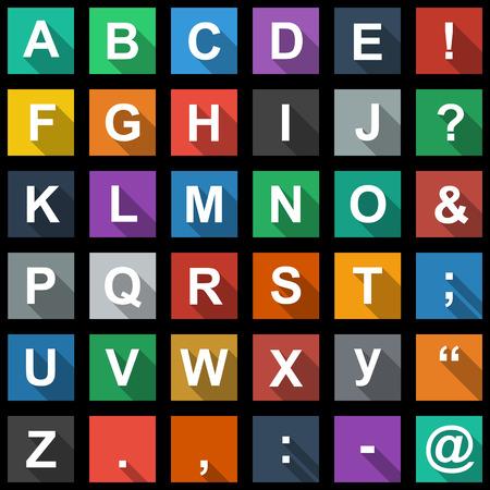 Alfabet, tekst Symbolen Flat Icons Set met lange schaduw