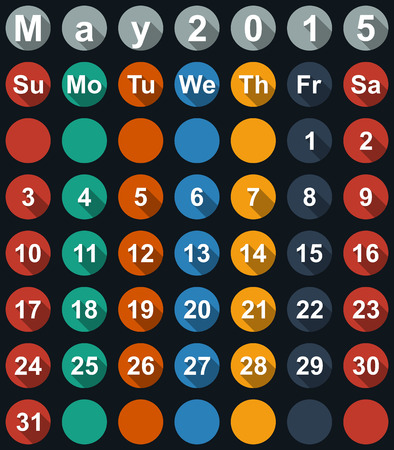 Calendar May 2015 with flat numbers and long shadows - vector illustration Vector