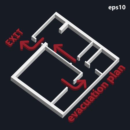 evacuacion: Edificio de plan de evacuación en 3D Vectores