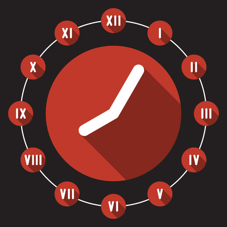 numbers icon: Clock Flat design Icon with Roman Numbers and long shadow