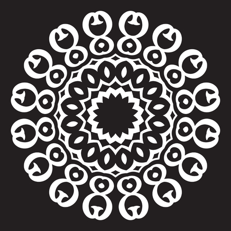 used ornament: Calligraphic design vintage element. Used for wallpaper, web, background, card. Retro monochrome geometric ornament. Illustration