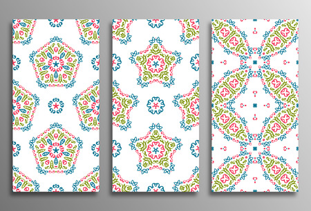 used ornament: Set vintage universal different seamless eastern patterns (tiling). Endless texture can be used for wallpaper, pattern fill, web page background, surface textures clothes. Retro geometric ornament.
