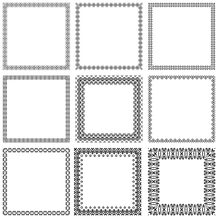 dashes: Decorative vintage frames and borders set vector