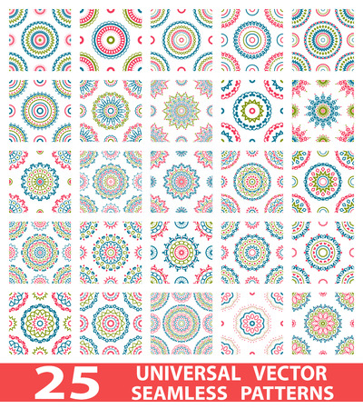 Universal multi - dimensional seamless patterns (tiling). Endless texture can be used for wallpaper, pattern fills, web page background, surface textures. Set modern design ornament Illustration