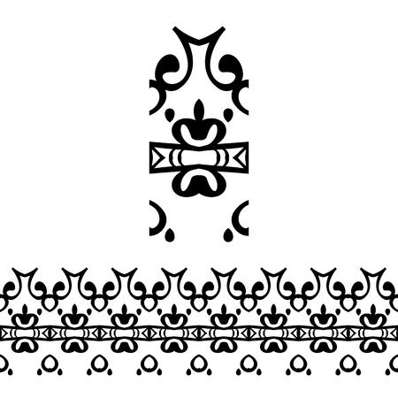 Vector line borders with vintage patterns Illustration